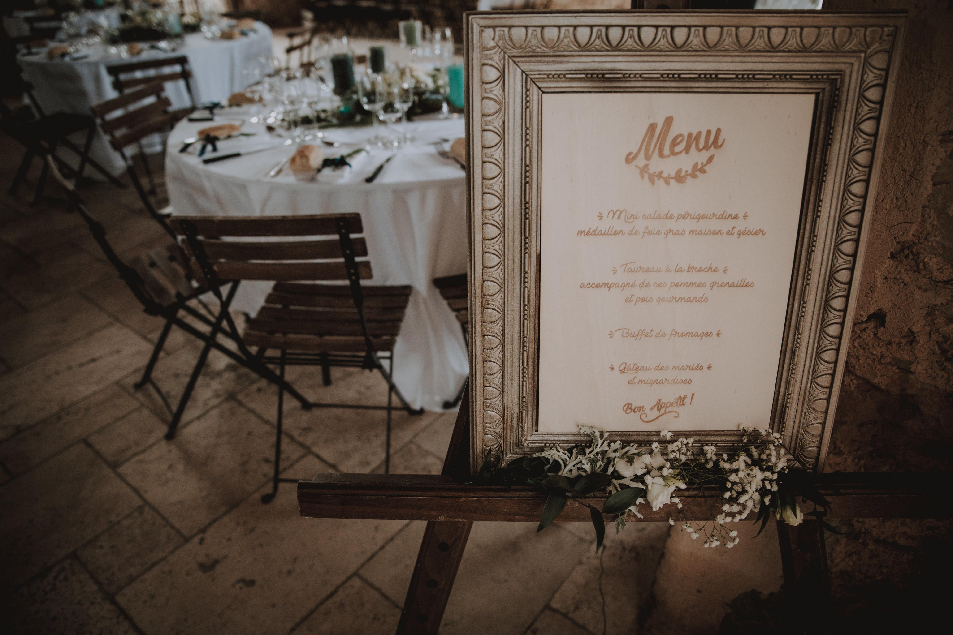 Tableau du menu et décoration