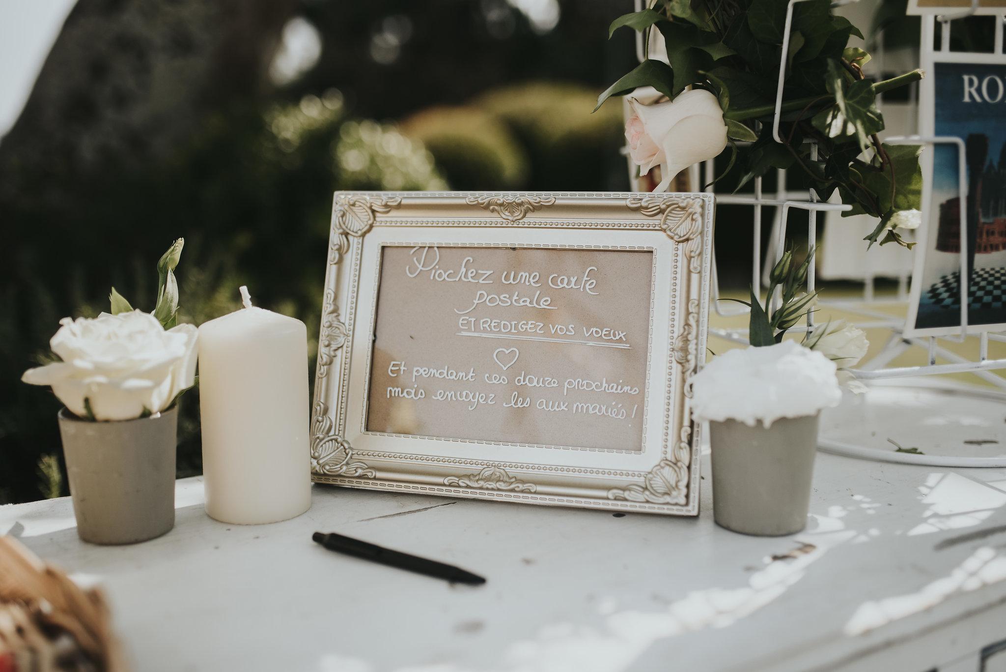 Table rédaction des voeux de mariage